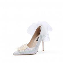 Luksusowe Srebrny Rhinestone Buty Ślubne 2020 Skórzany Perła Kokarda 10 cm Szpilki Szpiczaste Ślub Czółenka