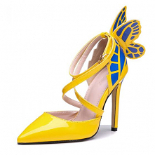 Piękne Żółta Bal Motyl Buty...