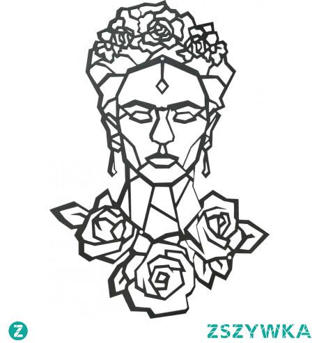 Dekoracja ścienna - Frida Kahlo wykonana z metalu i pomalowana proszkowo na kolo czarny. Frida Kahlo to nietypowe ozdoby na ścianę dla osób ceniących jej osobowość. Wysokość ozdoby na ścianę to 66,2 cm. szerokość 45 cm. a grubość blachy to 0,3 cm. Dekoracje ścienne metalowe stylowo ozdobią i wyróżnią monotonną ścianę. Frida Kahlo to słynna artystka urodzona w Meksyku 6 lipca 1907r.