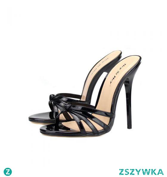 Proste / Simple Czarne Przypadkowy Sandały Damskie 2020 13 cm Szpilki Peep Toe Sandały
