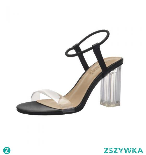 Proste / Simple Seksowne Czarne Zużycie ulicy Sandały Damskie 2020 Z Paskiem 9 cm Grubym Obcasie Peep Toe Sandały