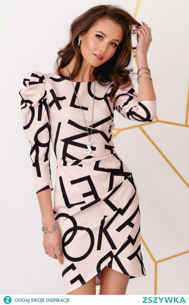 Roco Ołówkowa sukienka z bufkami efektowny wzór 0279/B08