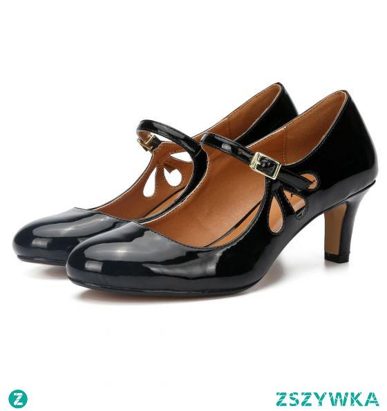 Proste / Simple Czarne Przypadkowy Sandały Damskie 2020 Skóry Lakierowanej 6 cm Szpilki Okrągłe Toe Sandały