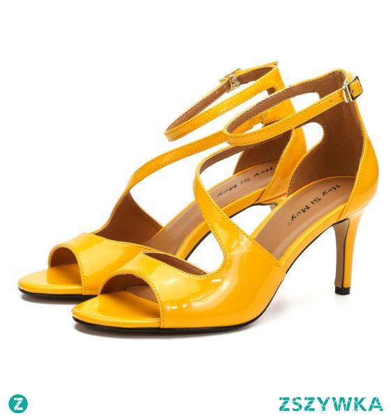 Proste / Simple Żółta Zużycie ulicy Sandały Damskie 2020 Z Paskiem Skóry Lakierowanej 8 cm Szpilki Peep Toe Sandały