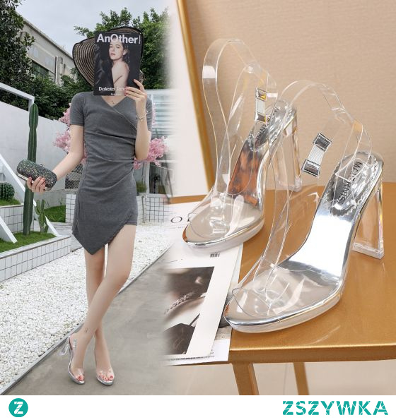 Seksowne Przezroczysty Srebrny Zużycie ulicy Slingback Sandały Damskie 2020 11 cm Grubym Obcasie Peep Toe Sandały