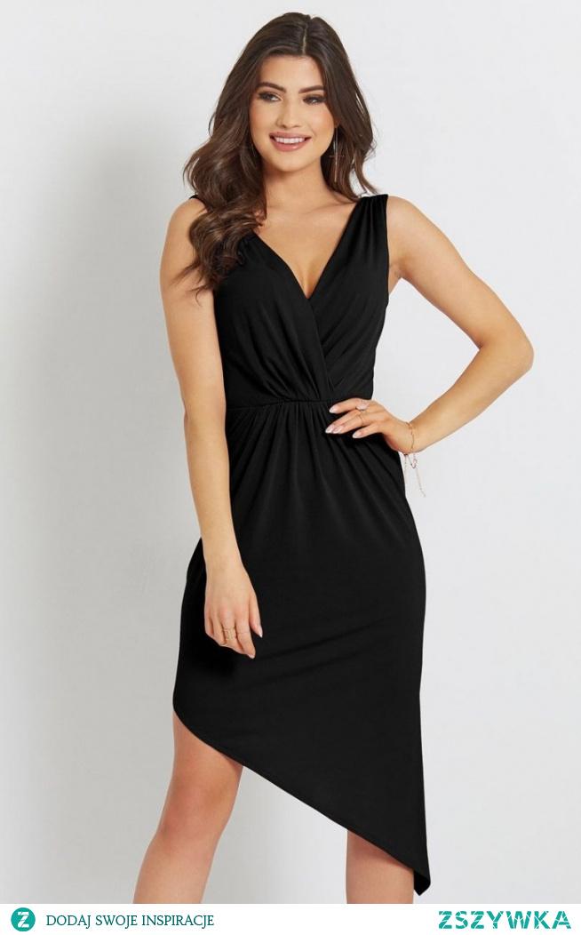 IVON Seksowna asymetryczna sukienka czarna Gaja