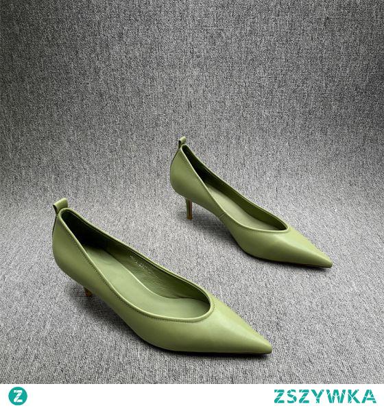 Proste / Simple Koniczyna Zielony Przypadkowy Czółenka 2020 7 cm Szpilki Szpiczaste Czółenka