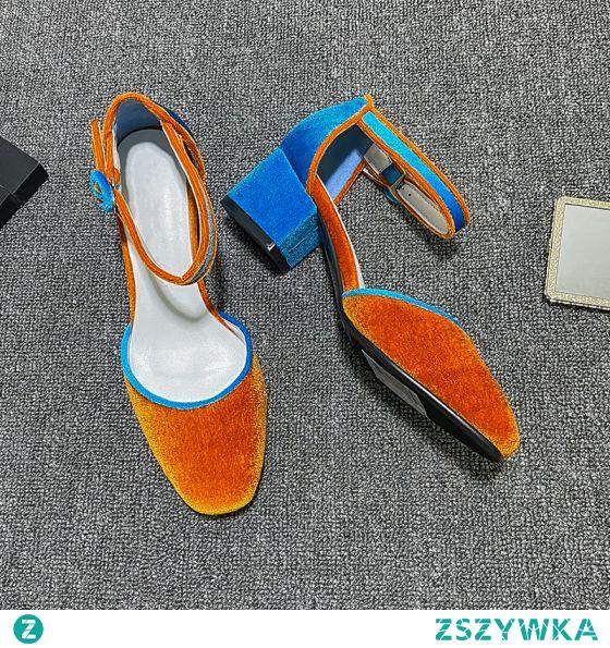 Piękne Pomarańczowy Koktajlowe Zamszowe Sandały Damskie 2020 Z Paskiem 4 cm Grubym Obcasie Niski Obcas Szpiczaste Sandały