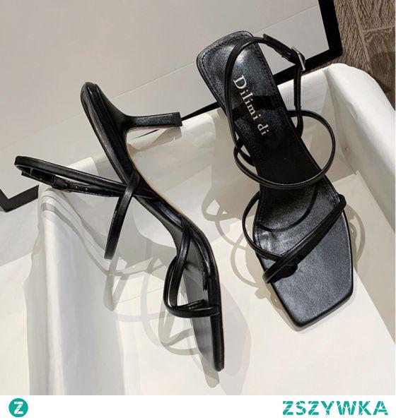 Seksowne Czarne Zużycie ulicy Sandały Damskie 2020 Z Paskiem 6 cm Szpilki Peep Toe Sandały