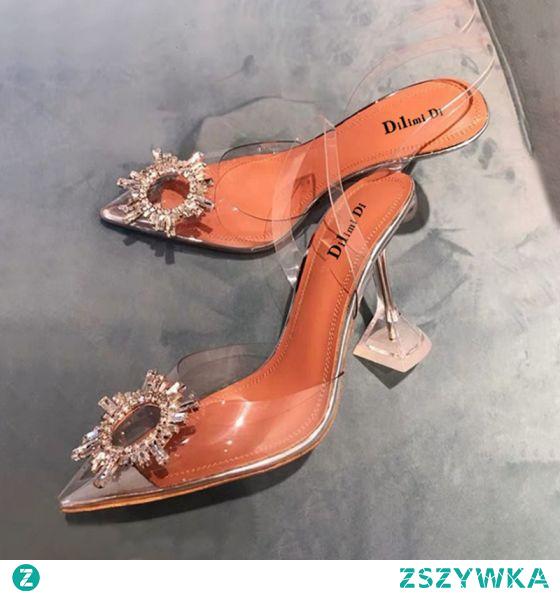 Seksowne Przezroczysty Srebrny Wieczorowe Rhinestone Slingback Sandały Damskie 2020 9 cm Szpilki Szpiczaste Sandały