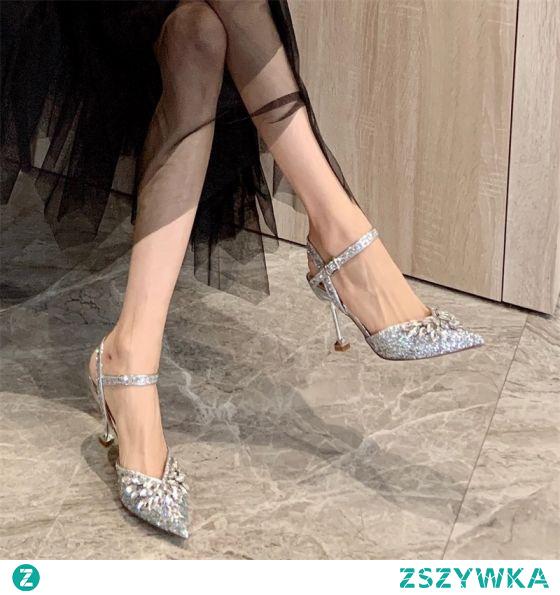 Błyszczące Srebrny Wieczorowe Sandały Damskie 2020 Rhinestone Cekiny 8 cm Szpilki Szpiczaste Sandały