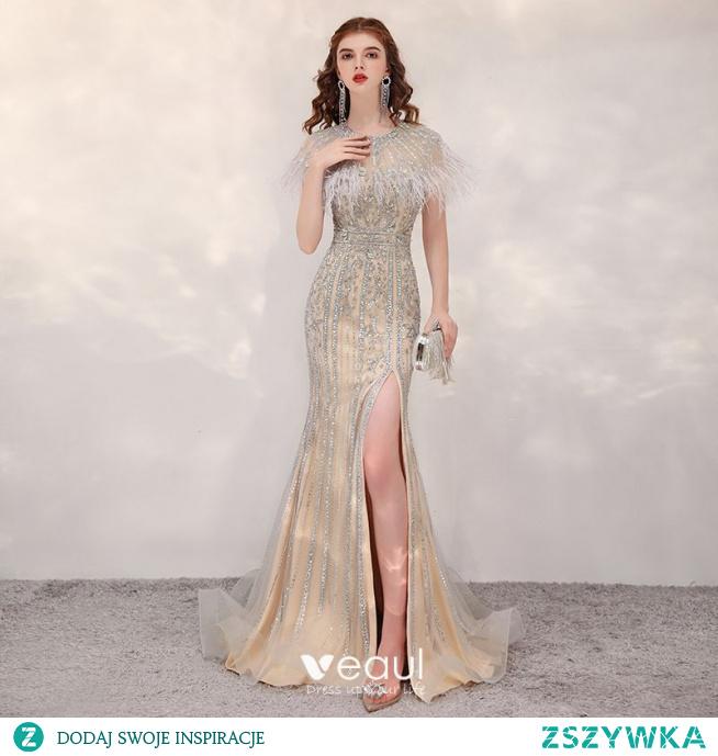 Luksusowe Złote Przezroczyste Sukienki Wieczorowe 2020