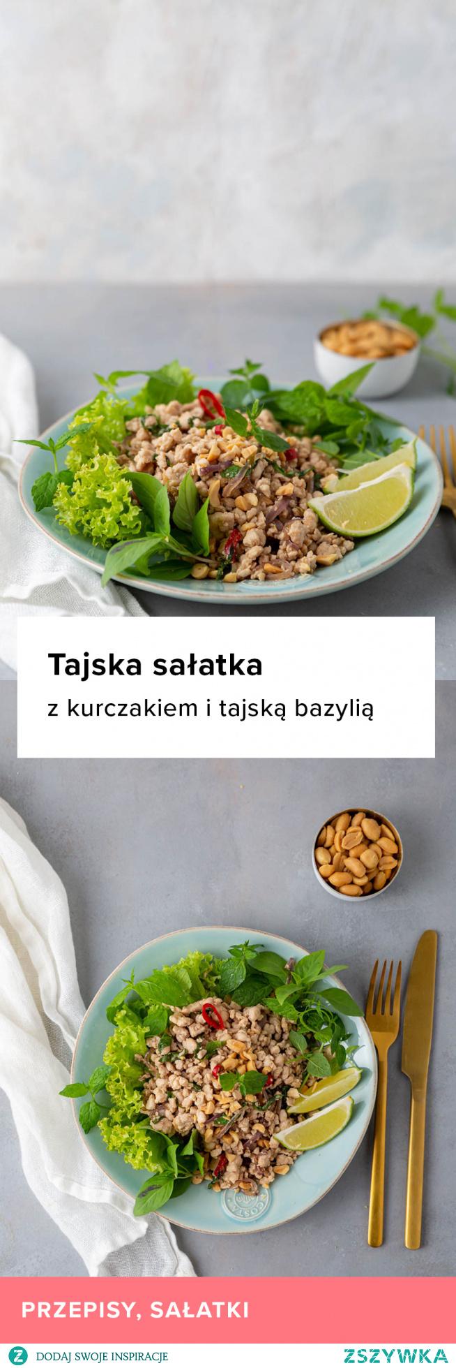 Przepis na tajską sałatkę z kurczakiem i tajską bazylią