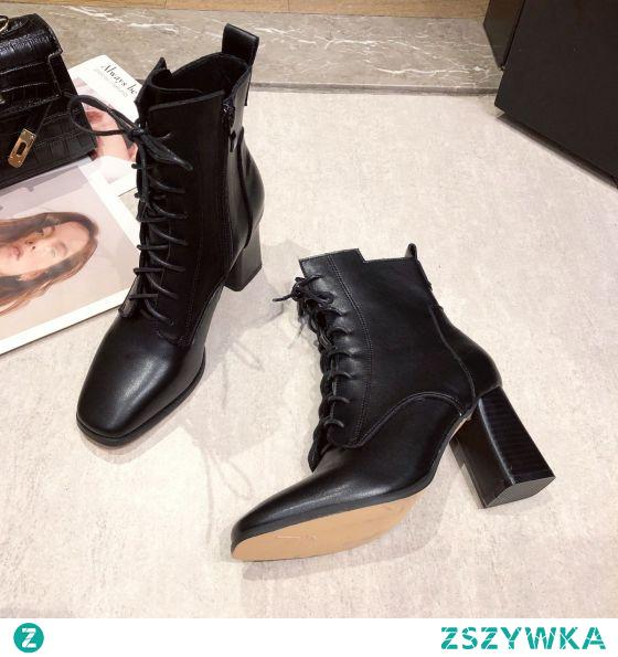 Proste / Simple Czarne Przypadkowy Botki Buty Damskie 2020 7 cm Grubym Obcasie Kwadratowe Boots