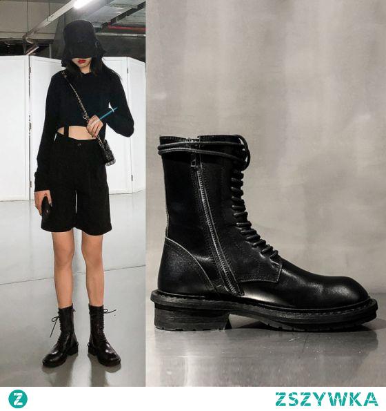 Moda Spadek Czarne Zużycie ulicy Płaskie Buty Damskie 2020 Okrągłe Toe Botki Boots