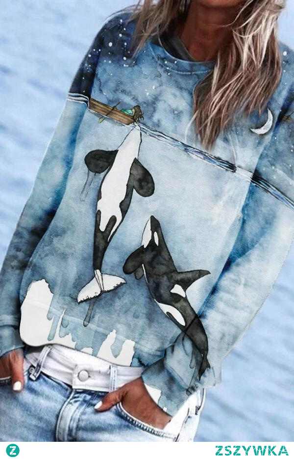 Killer Whale Playing With Human Print Gradient Casual Sweatshirt