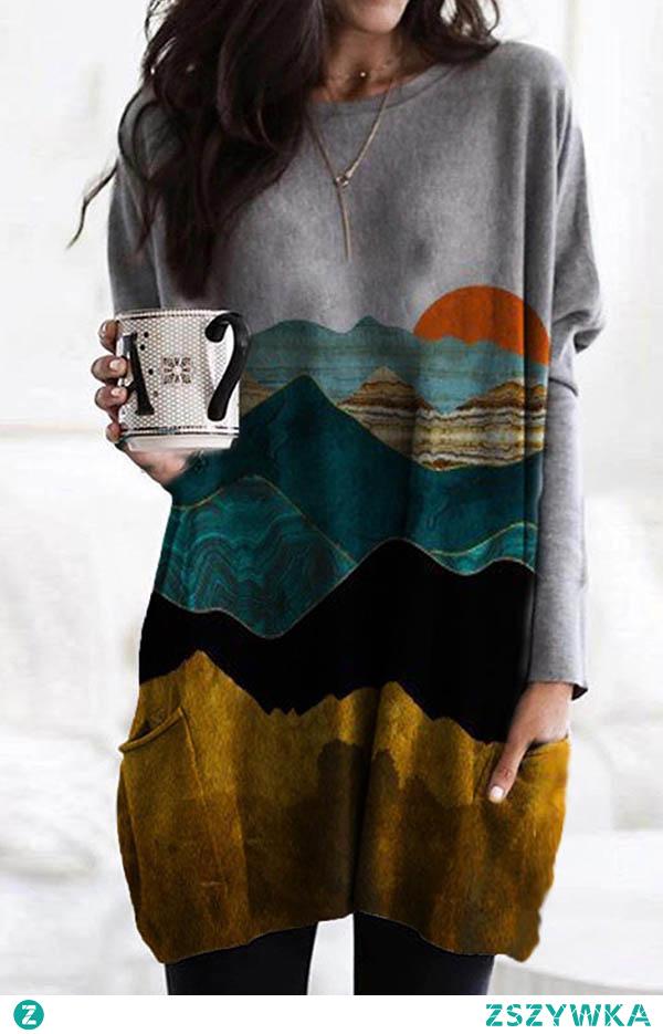 Gradient Mountain Sun Print Paneled Pockets Casual T-shirt