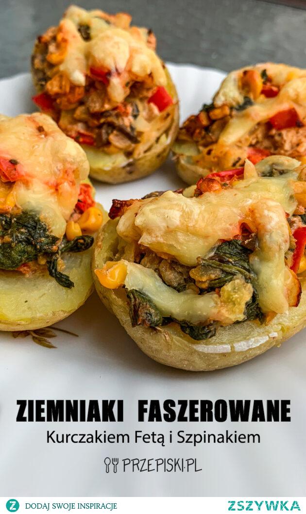 Ziemniaki Faszerowane Kurczakiem Fetą i Szpinakiem #kuchnia #przepisy #obiad