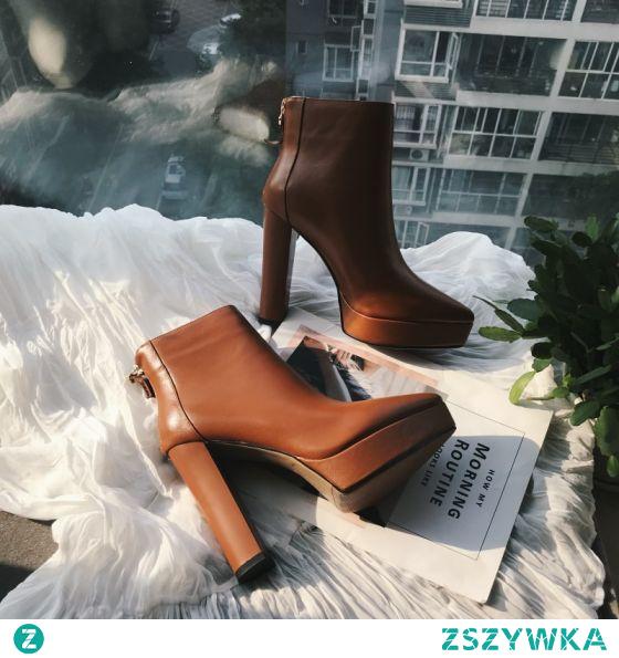 Moda Brązowy Zużycie ulicy Botki Buty Damskie 2020 Skórzany 12 cm Grubym Obcasie Szpiczaste Boots