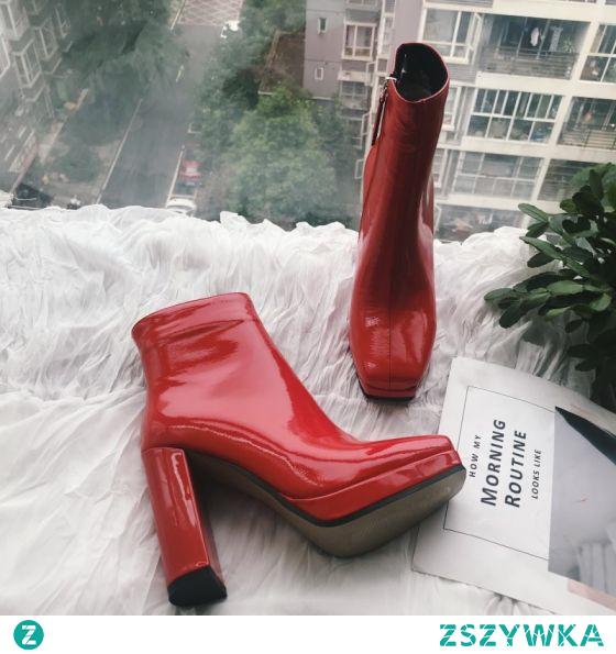 Piękne Czerwone Przypadkowy Botki Buty Damskie 2020 Skóry Lakierowanej 10 cm Grubym Obcasie Kwadratowe Boots