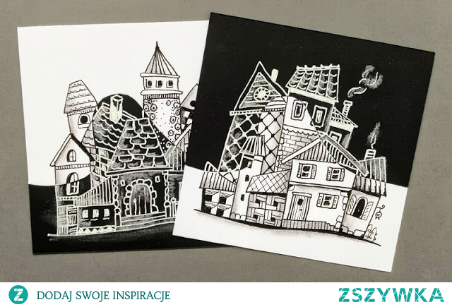 Rysujemy proste domki w stylu Zentangle