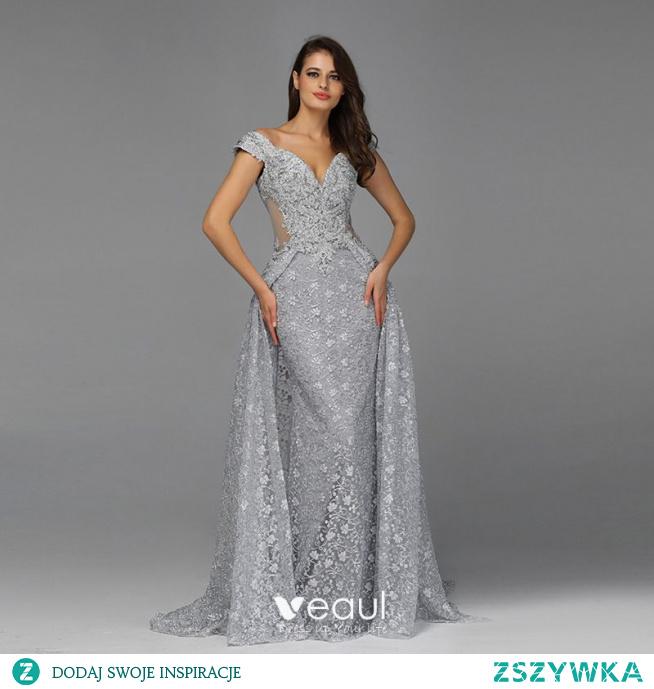 Wysokiej Klasy Szary Przezroczyste Sukienki Wieczorowe 2020