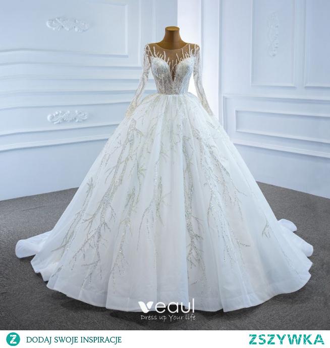 Luksusowe Białe ślubna Suknie Ślubne 2020