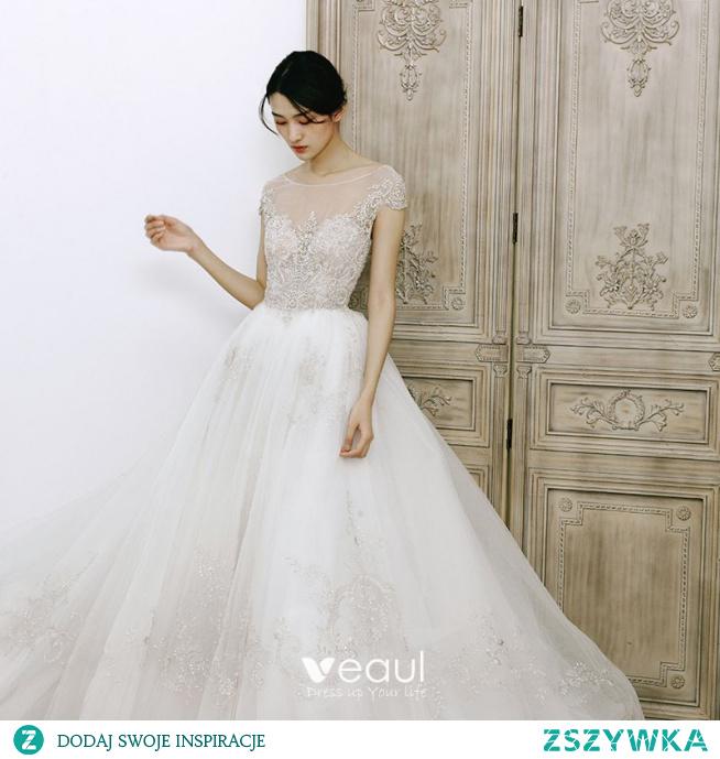 Uroczy Białe Przezroczyste ślubna Suknie Ślubne 2020