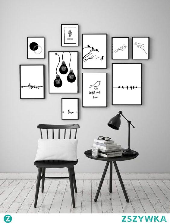 12 czarno-białych, klasycznych plakatów do druku