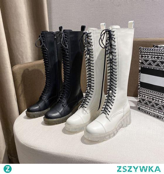 Moda Zima Czarne Zużycie ulicy Połowy Łydki Buty Damskie 2020 6 cm Grubym Obcasie Okrągłe Toe Boots
