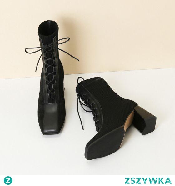 Piękne Czarne Przypadkowy Dziewiarskie Buty Damskie 2020 7 cm Grubym Obcasie Kwadratowe Boots