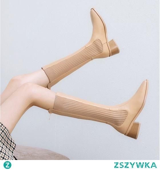 Moda Beżowe Zużycie ulicy Dziewiarskie Połowy Łydki Buty Damskie 2020 5 cm Grubym Obcasie Kwadratowe Boots