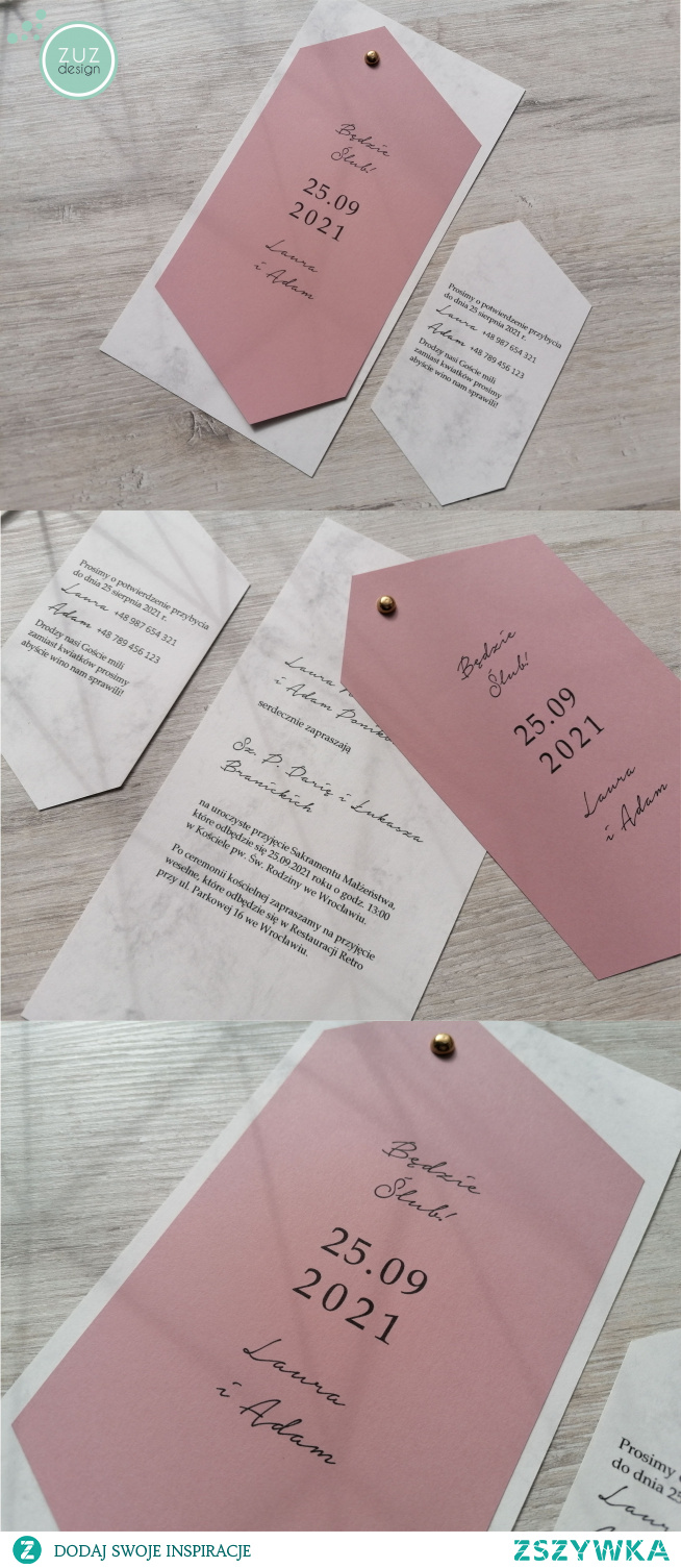 Minimalistyczne zaproszenia ślubne z kolekcji Ann. Dwie kartki połączone złotym nitem i luźny bilecik na dodatkowe informacje.  Znajdą się tutaj wielbiciele geometrycznych kształtów?