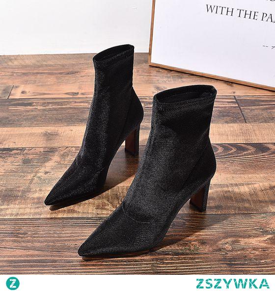 Proste / Simple Czarne Zużycie ulicy Botki Buty Damskie 2020 8 cm Grubym Obcasie Szpiczaste Boots