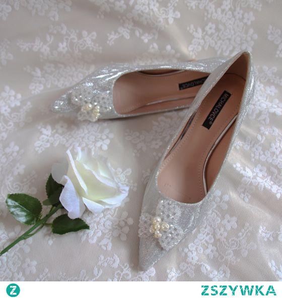 Eleganckie Vintage Srebrny Cekinami Buty Ślubne 2020 Skórzany Kryształ Perła 5 cm Szpilki Szpiczaste Ślub Czółenka