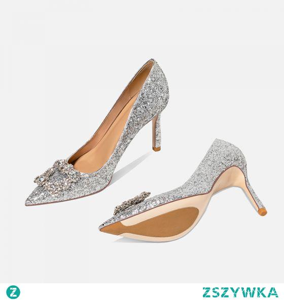 Błyszczące Srebrny Rhinestone Cekiny Buty Ślubne 2020 10 cm Szpilki Szpiczaste Ślub Czółenka