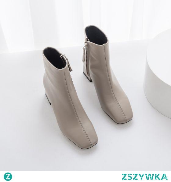 Proste / Simple Szary Zużycie ulicy Botki Buty Damskie 2020 Skórzany 5 cm Grubym Obcasie Kwadratowe Boots