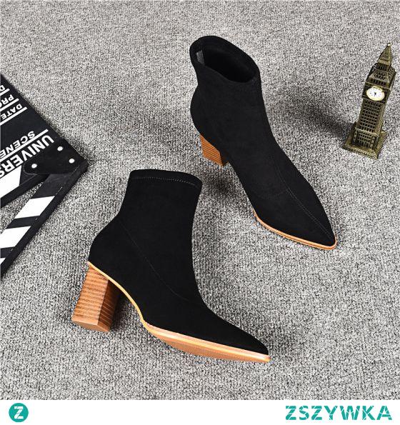 Proste / Simple Czarne Przypadkowy Botki Zamszowe Buty Damskie 2020 Skórzany 7 cm Grubym Obcasie Szpiczaste Boots