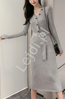 Szara sukienka dzianinowa -...