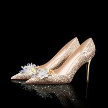 Luksusowe Złote Kryształ Buty Ślubne 2020 Skórzany Cekiny 8 cm Szpilki Szpiczaste Ślub Czółenka