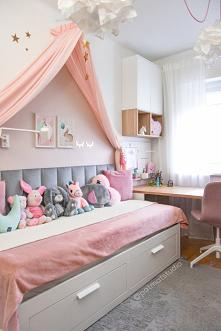 Różowy pokój dla dziewczynki @patmatstudio  Łóżko z baldachimem  #pokojdziecka #pokojdzieciecy #pokojdziewczynki #baldachim #ikea #diy