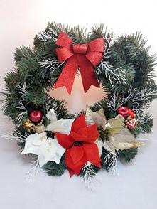 Piękny, duży wianek świąteczny z gwiazdą betlejemską- rękodzieło Średnica 50 cm