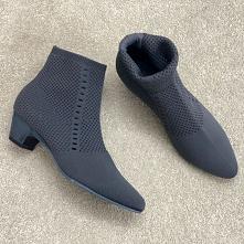 Proste / Simple Szary Przypadkowy Botki Dziewiarskie Buty Damskie 2020 4 cm Niski Obcas Grubym Obcasie Szpiczaste Boots