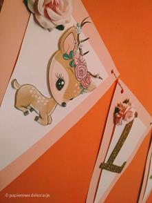 Girlanda z sarenką na roczek.   #girlanda #baner #diy #roczek #urodziny #dekoracje #sarenka #łania #dekoracje3d
