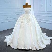 Luksusowe Białe Satyna ślub...