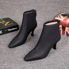 Minimalistyczny Zima Czarne Zużycie ulicy Skórzany Buty Damskie 2021 7 cm Szpilki Szpiczaste Botki Boots