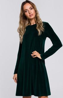 MOE Zielona welurowa sukien...