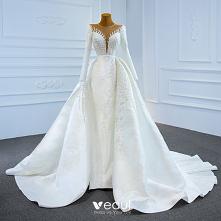 Luksusowe Białe Satyna Zima...