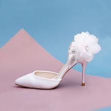 Stylowe / Modne Białe Kwiat Rhinestone Buty Ślubne 2021 Satyna 9 cm Szpilki Szpiczaste Ślub Na Obcasie