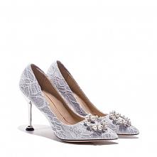 Elegancka Białe Perła Rhinestone Z Koronki Kwiat Buty Ślubne 2021 Wysokie Obcasy 8 cm Szpilki Szpiczaste Ślub Czółenka